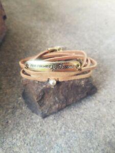 handmade-womens-tan-leather-gold-034-fear-ends-where-faith-begins-034-bracelet-wrap
