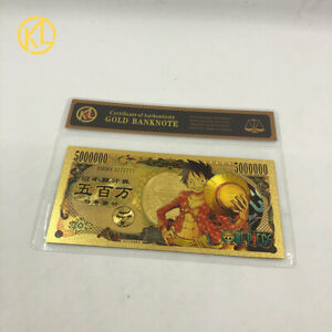 BILLET TICKET ONE PIECE MANGA MONKEY LUFFY CARTE COLLECTOR GOLD OR JEU WITH COA