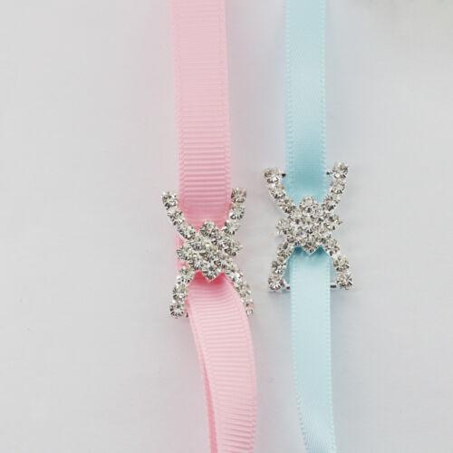 10 Rhinestone Bow Ribbon Buckle Sliders Wedding Favour Invitation Craft