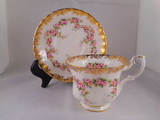 Beautiful Tea Coffee Cup & Saucer, Royal Albert China, Dimity Rose Pattern, Gold