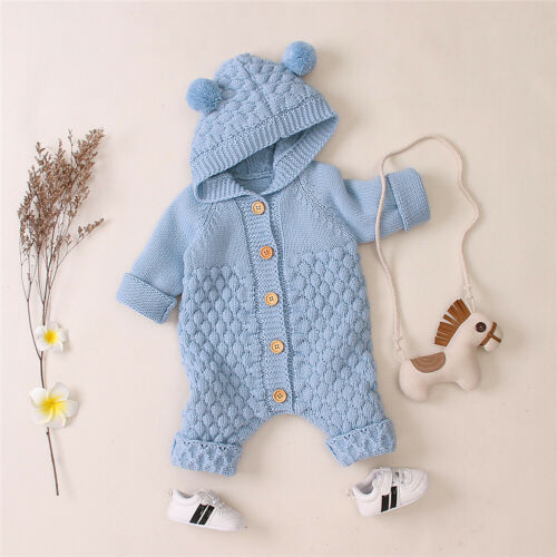 Newborn Toddler Baby Boy Girl Knit Romper Hooded Sweater Jumpsuit Winter Outfits