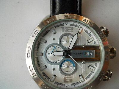 Fossil men's chronogra blk leather band,quartz, batt & analog used watch.Ch-2558