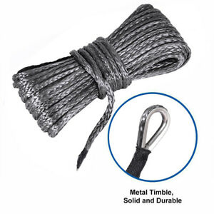1//4/'/'x50/' Grey Synthetic Winch Rope Line Recovery Cable 10000LBS 4WD SUV Pickup