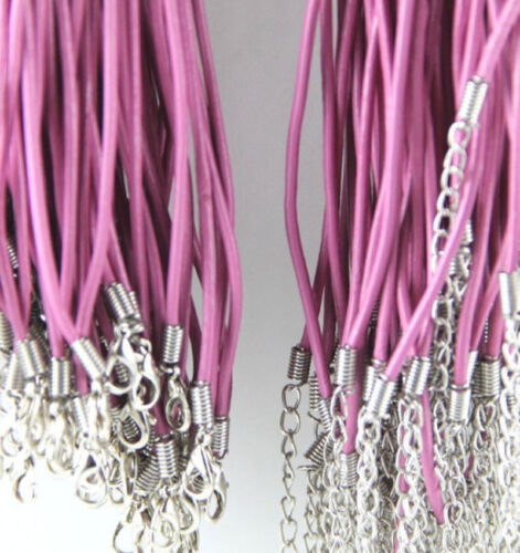 Wholesale 5//10//20//100pcs Real Leather Cord Necklace Lobster Clasp Charms 2mm