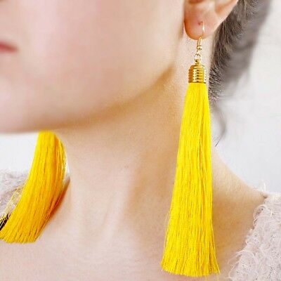 Ohrstecker Ohrringe Ohrgehänge Troddel Quasten Lang Gelb Rot Pink
