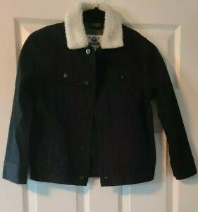 Boys Shaun White Black Denim Sherpa Collar Jacket Coat NWOT D3