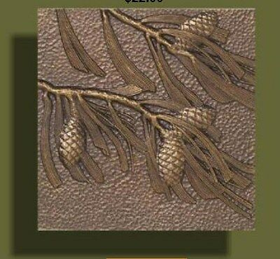 """Arts and Crafts Bronze Tone Pinecone Tile by Whitehall 8/"""" x 8/"""""""