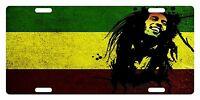 Rasta Flag Custom License Plate Rastafarian Emblem Bob Version