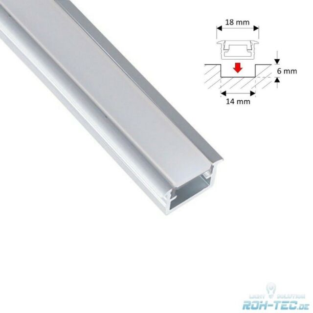 1m Profilo Alluminio / Barra FUGA - S Per Strisce LED - Opale Copertura -milchig