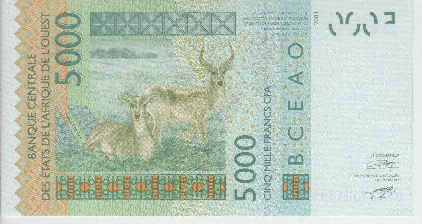 UNC 5,000 5.000 5000  FRANCS 2007 WEST AFRICAN STATES P417e-MALI