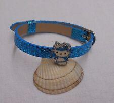 Leather like Hello Kitty kids childrens girls bracelet blue sparkly slide charm