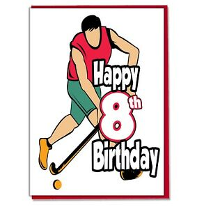 Image Is Loading Field Hockey 8th Birthday Card Boys Son Grandson