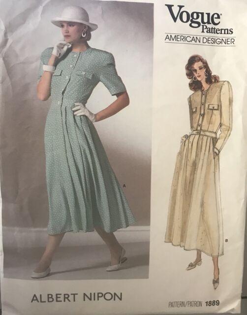 Vogue 1889 Albert Nipon American DESIGNER Misses Dress Sewing ...
