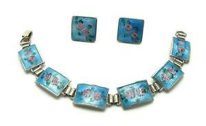 Vintage-Sterling-Silver-Blue-Guilloche-Enamel-Roses-6-Panel-Bracelet-Earrings