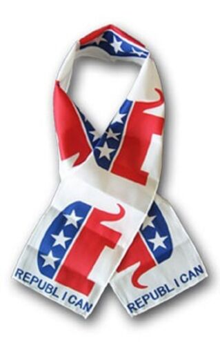 """Republican Elephant Lightweight Flag Printed Knitted Style Scarf 8/""""x60/"""""""