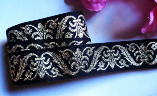 Gold selling by the yard Jacquard Ribbon 1+3//16 inch wide Black