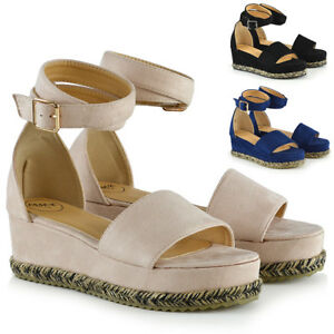 Image is loading Womens-Wedge-Heel-Sandals-Espadrille-Ladies-Ankle-Strap-