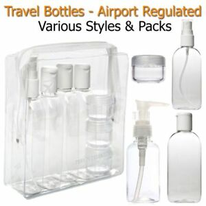 bb2d36d0c865 Details about Holiday Travel Bottles 100ML Plastic Toiletry Clear Pump  Spray Liquid Shampoo
