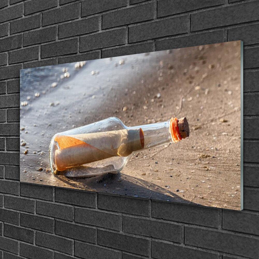 Image sur verre Tableau Impression 100x50 Art Message Dans Une Bouteille