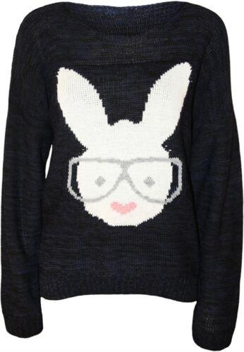 New Womens Rabbit Print Long Sleeve Knitted Jumper Tops 8-14