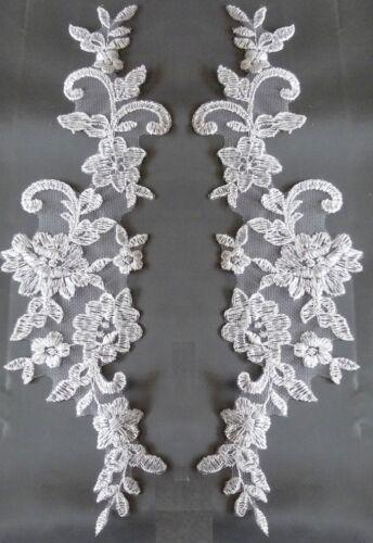 1 Paar od 10P SPITZE APPLIKATION Meterware Weiß od Ivory  7175  Brautmode