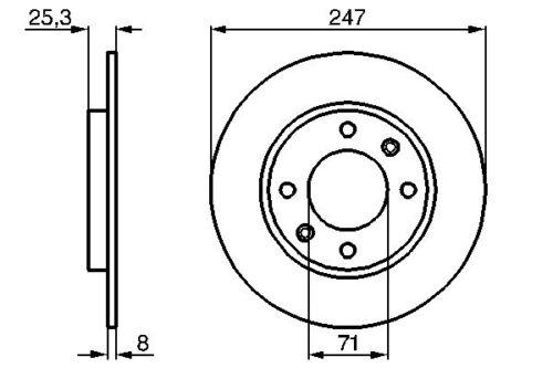 Vetech Solid Brake Disc Rear 247mm Citroen Saxo S0 S1 1.6 1.6 Vts 1.6 Vtl Vtr