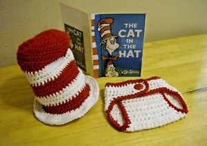 dbd93e2c4 Details about Newborn Baby Hat and Diaper Cover Set--THE CAT IN THE  HAT-Photo Prop