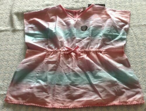 girls beach cover up swimsuit kaftan blouse top lilac blue piped edge 2-7 yr NEW