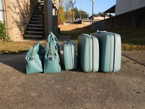 SET-Vintage-Samsonite-Silhouette-Blue-Teal-Suitcase-Luggage