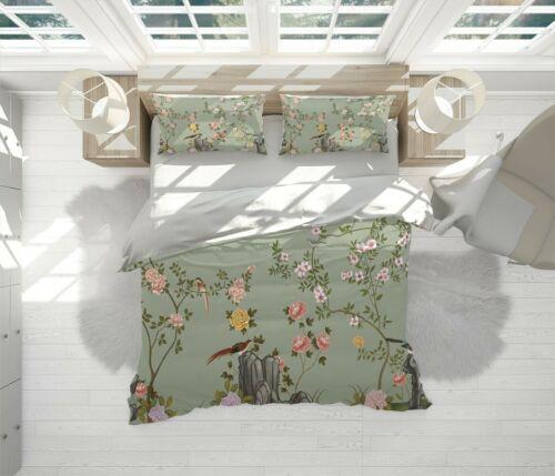 Japanese Bird Chinoiserie Green Quilt Cover Doona Duvet Cover w 2 Pillowcases