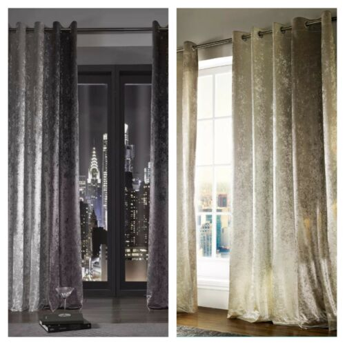Kylie Minogue Curtains Ready Made Lined Eyelet Ring Top DESIGNER Velvet  Natala Champagne 66 X 90 Curtains