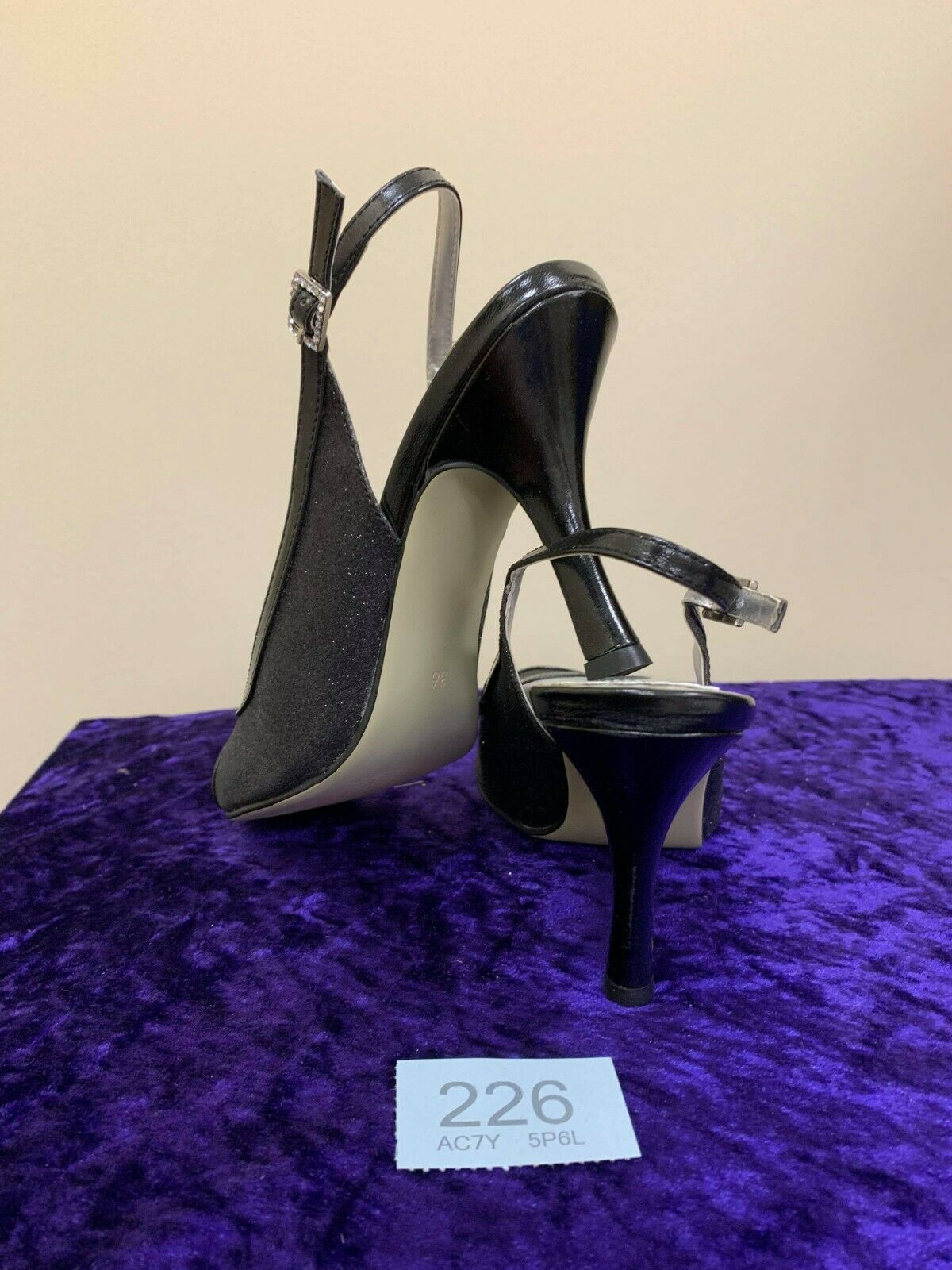 New in box black glitter wedding/evening shoes size 36 code 226 Style Samantha