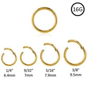 Gold Plated Hinged Septum Clicker Segment Nose Ring Lip