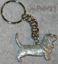BASSET HOUND Dog Fine Pewter Keychain Key Chain Ring Fob