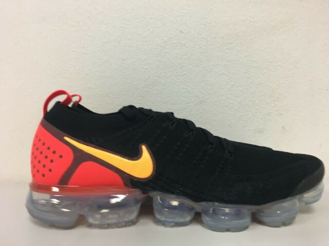 3b34a4d6718a0 Nike Air Vapormax Flyknit 2 Black Laser Orange Red 942842-005 Men Size 12  for sale online