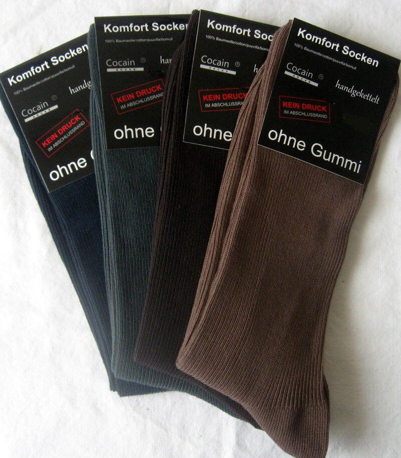 4 paire de chaussettes hommes sans caoutchouc 100/% coton 1//1 nervure 4 couleurs Cocain 39-46