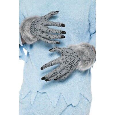 Grigio Pcv Lupo Mannaro Peloso Mani. - Le Mani Halloween Fancy Dress Accessorio Nuovo-mostra Il Titolo Originale
