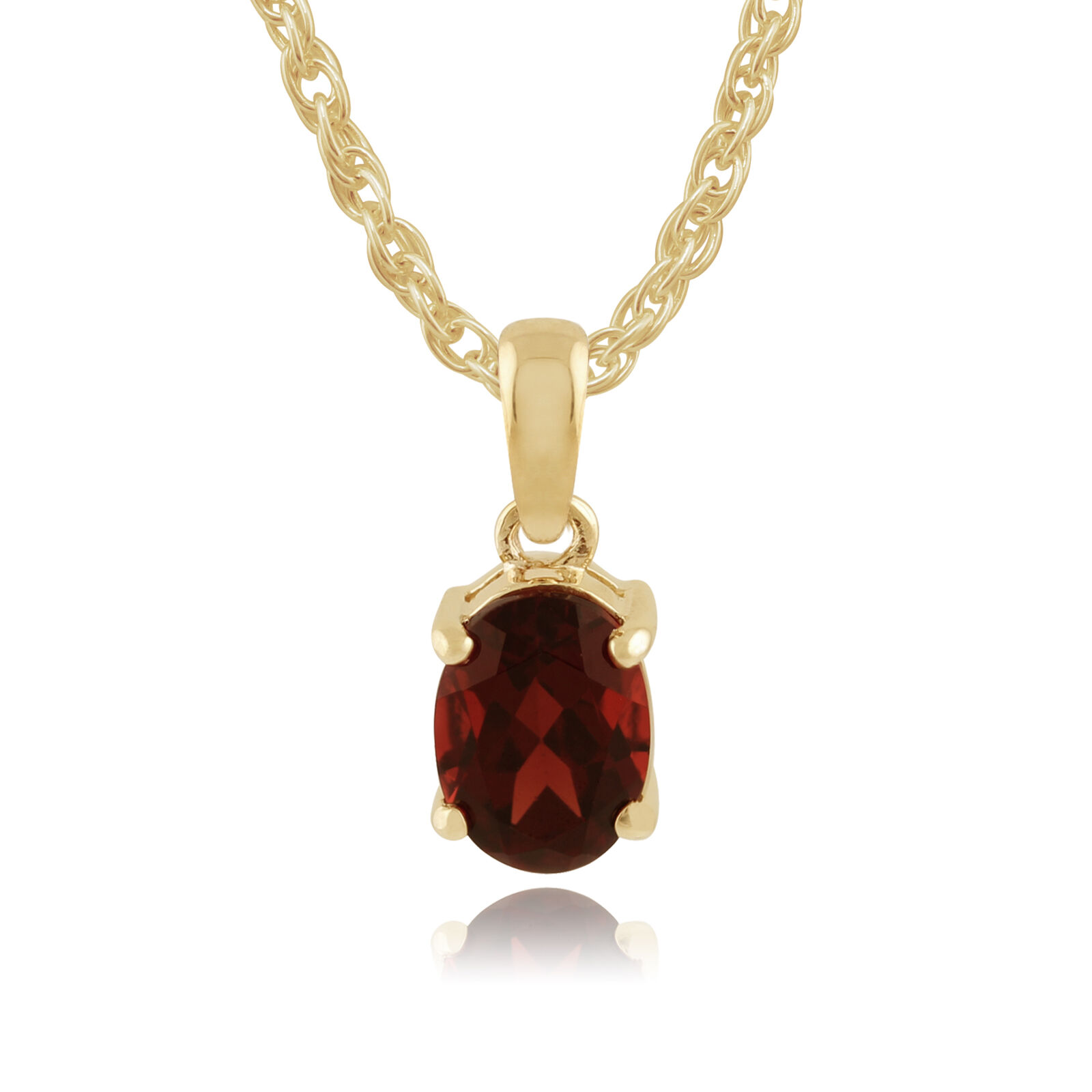9ct Yellow gold 1.35ct Claw Set Mozambique Garnet Oval Classic Pendant on Chain