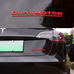 Tesla Model 3 Dual Motor Decals 3D Red Car Rear Trunk ...