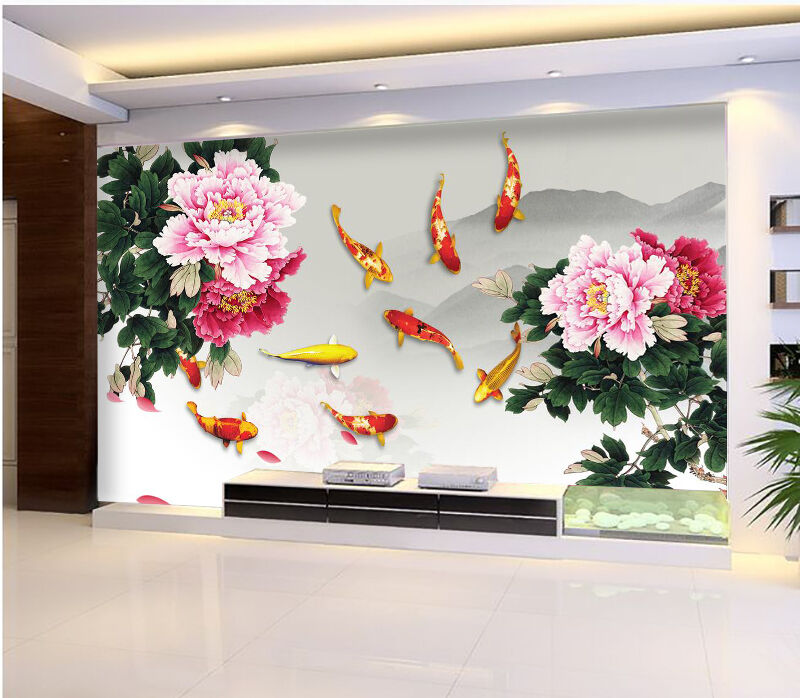 3D Flower fish natural Wall Paper Print Decal Wall Deco Indoor wall Mural