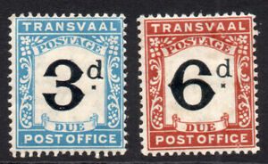 Transvaal 2 Postage Due Stamps c1907 Mounted Mint and Unused (tiny tone) (479)