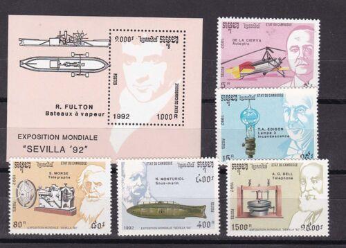 cambodia 1992 Sc 1218/23,inventors.set MNH h945