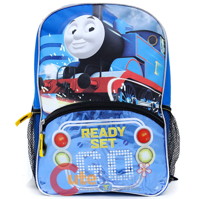 Light up ready set go thomas the train engine 14 canvas blue school thomas tank engine school backpack 14 book bag ready set light up gumiabroncs Images