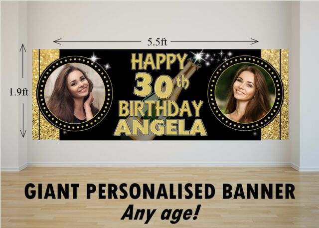 Personalised GIANT Large Happy Birthday Banner 18th 21st 30th 40th 50th N51