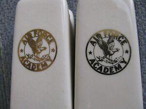 "VTG US Air Force Academy Ceramic 3"" Tall Salt & Pepper Shakers Gold on Ceramic"