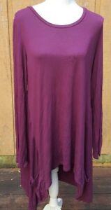 LOGO-Lori-Goldstein-Medium-Women-039-s-Maroon-Tunic-Dress-Pockets-Long-Sleeve-Soft