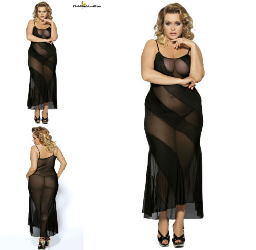 PLUS SIZE DESSOUSBlack Lace Transparent Long Dress EveningXS-4L R7389