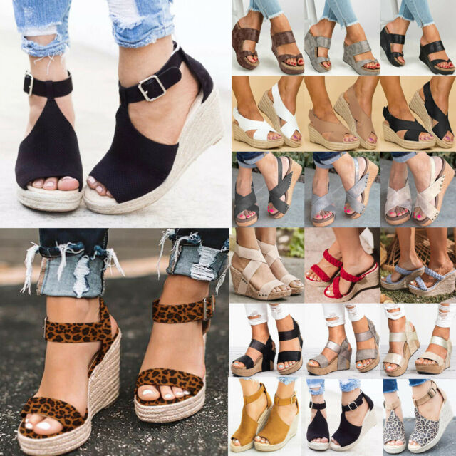 Women Platform Wedges Sandals Espadrille Summer Cutout Open Toe Ankle Strap Beach Dress Shoes