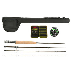 Carbon fly fishing rod with metal reel wheel line lures for Fly fishing combo kit