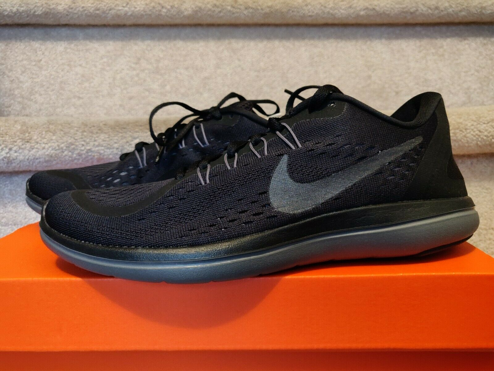 79e94e8c8bb1b Nike Flex 2017 RN Mens 898457-005 Black Anthracite Mesh Running ...